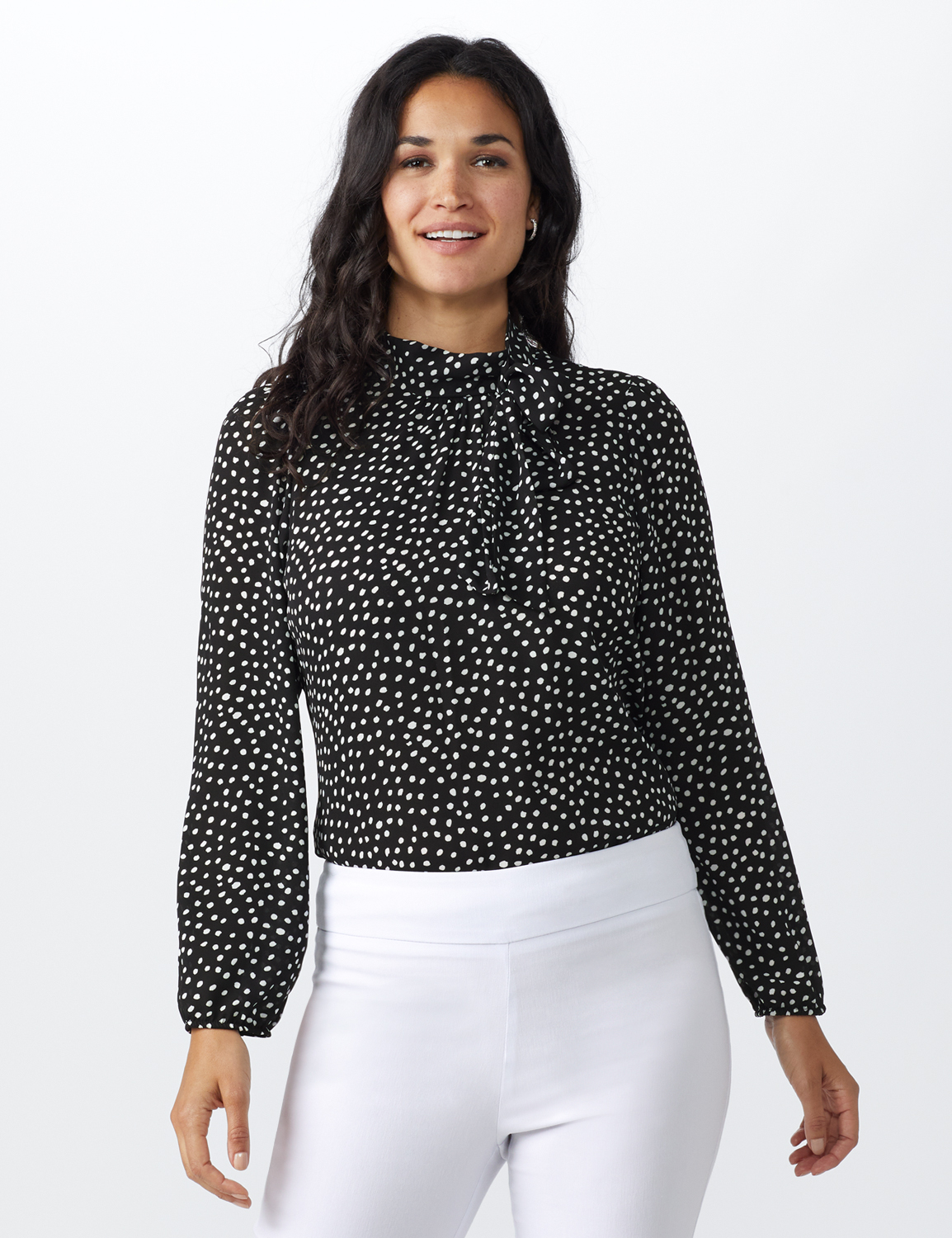 Dot Side Bow Blouse -Black - Front