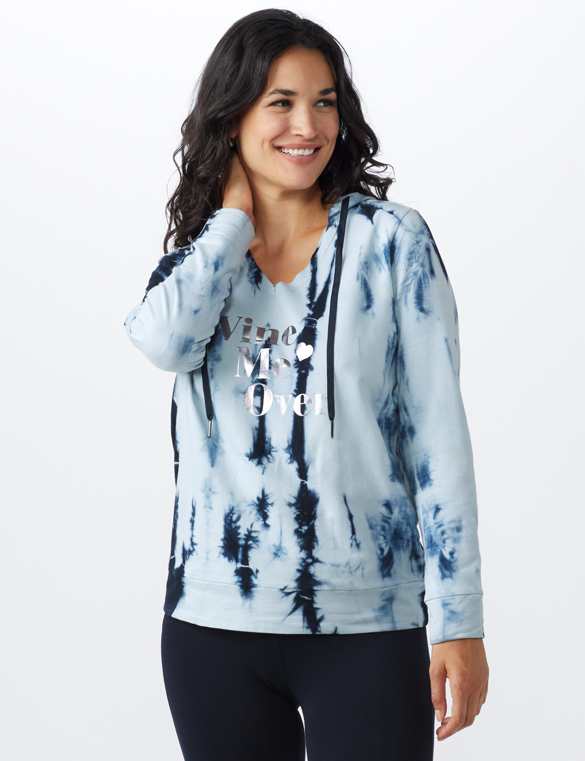 """Wine Me Over"" Tie Dye Knit Hoodie - Blue - Front"