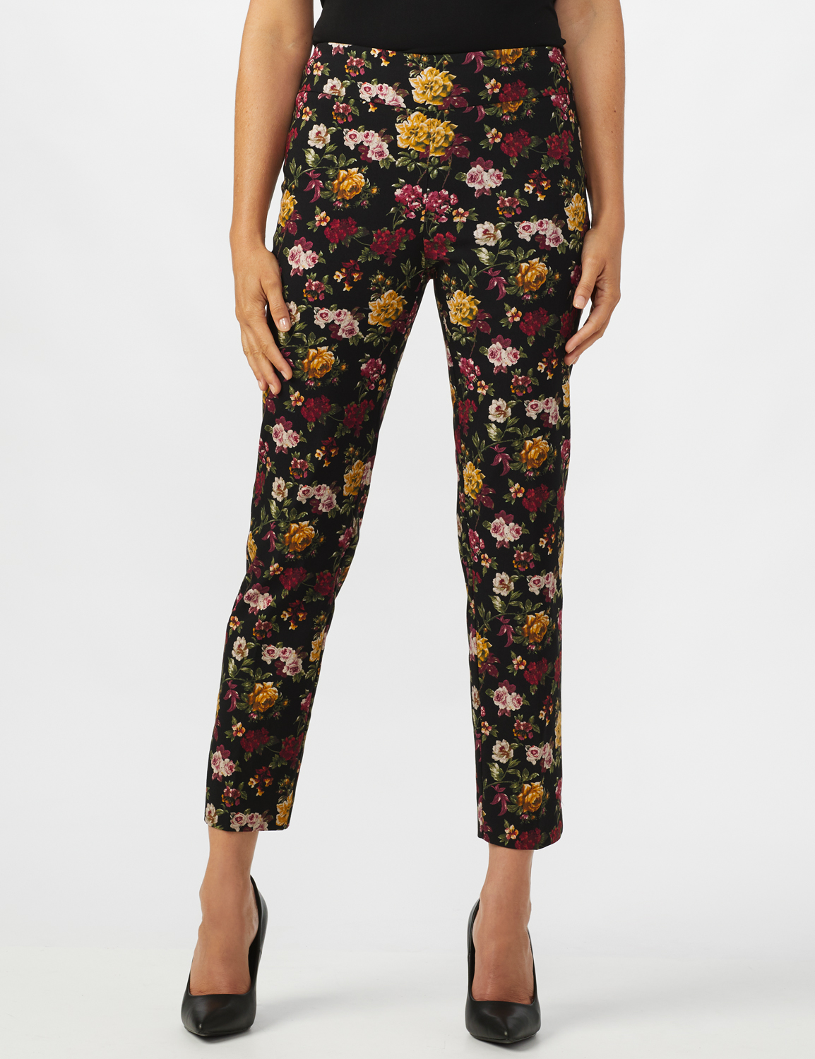 Pull On Floral print Ankle Pants -Black/Wine - Front