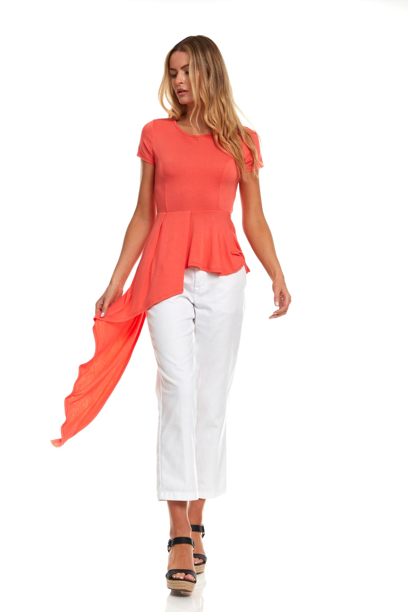 Flutter Hi-Low Scoop Neck Knit Tee -Coral - Front