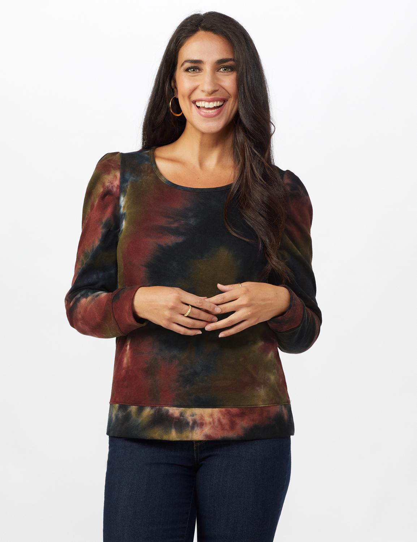 Tie Dye Puff Sleeve Sweatshirt - Misses -Black/brown - Front