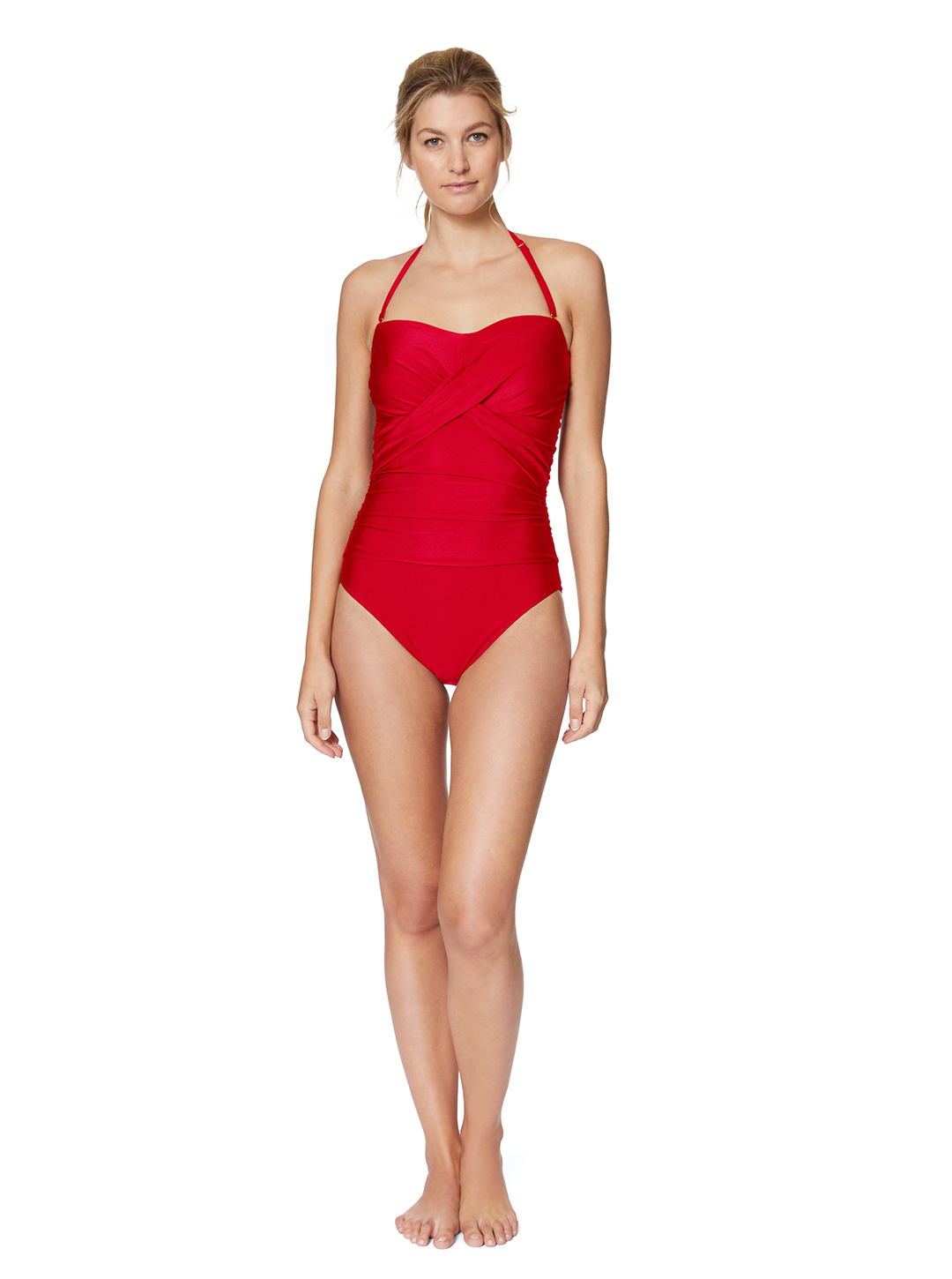 Tahari® Ultra Luxe Bandeau One Piece Swimsuit -Red - Front