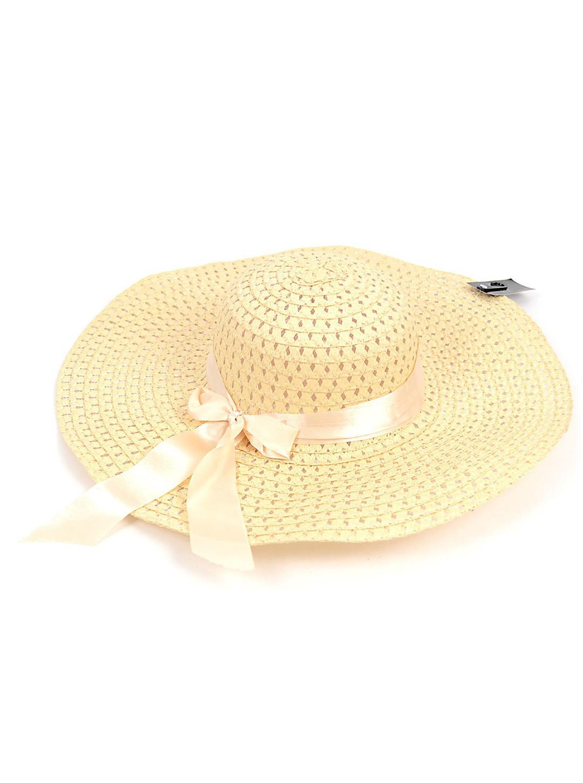 Brim Floppy Hat W/ Bow - Beige - Front