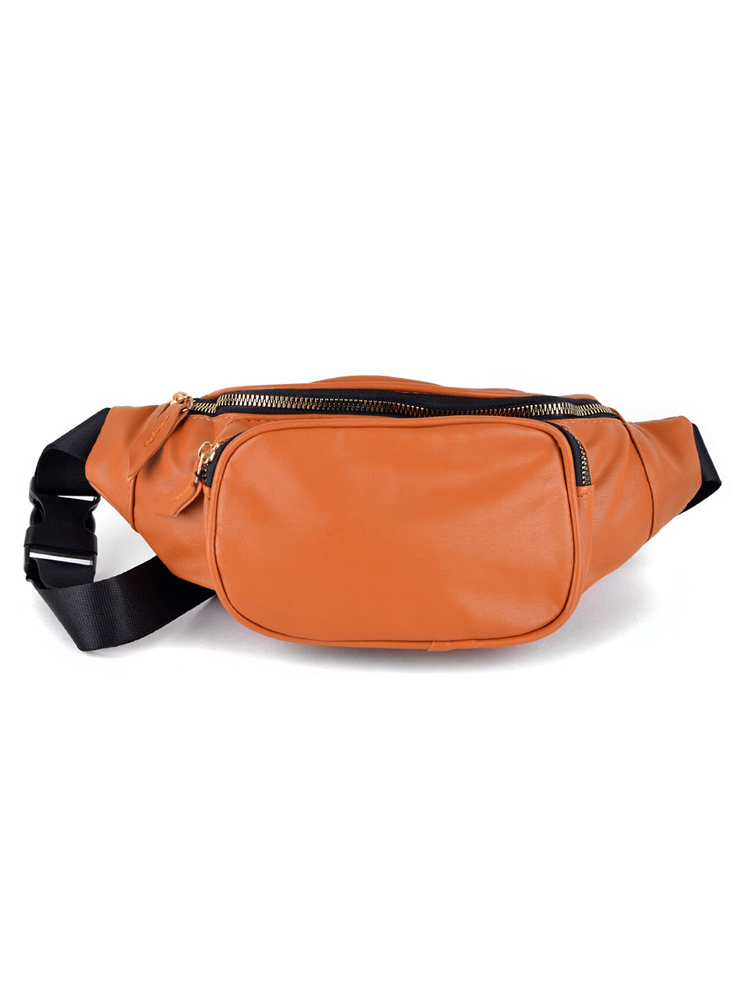 PU Leather Fanny Pack -Cognac - Front