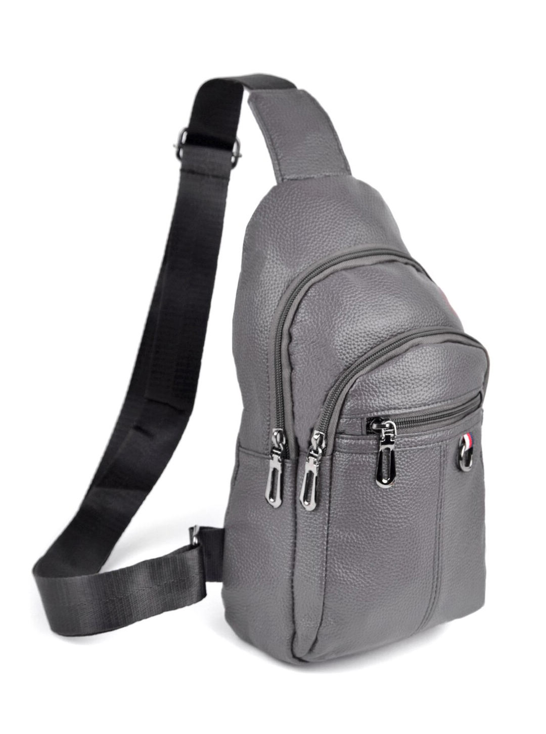 Synthetic Leather Crossbody Sling Shoulder Bag -Gray - Front