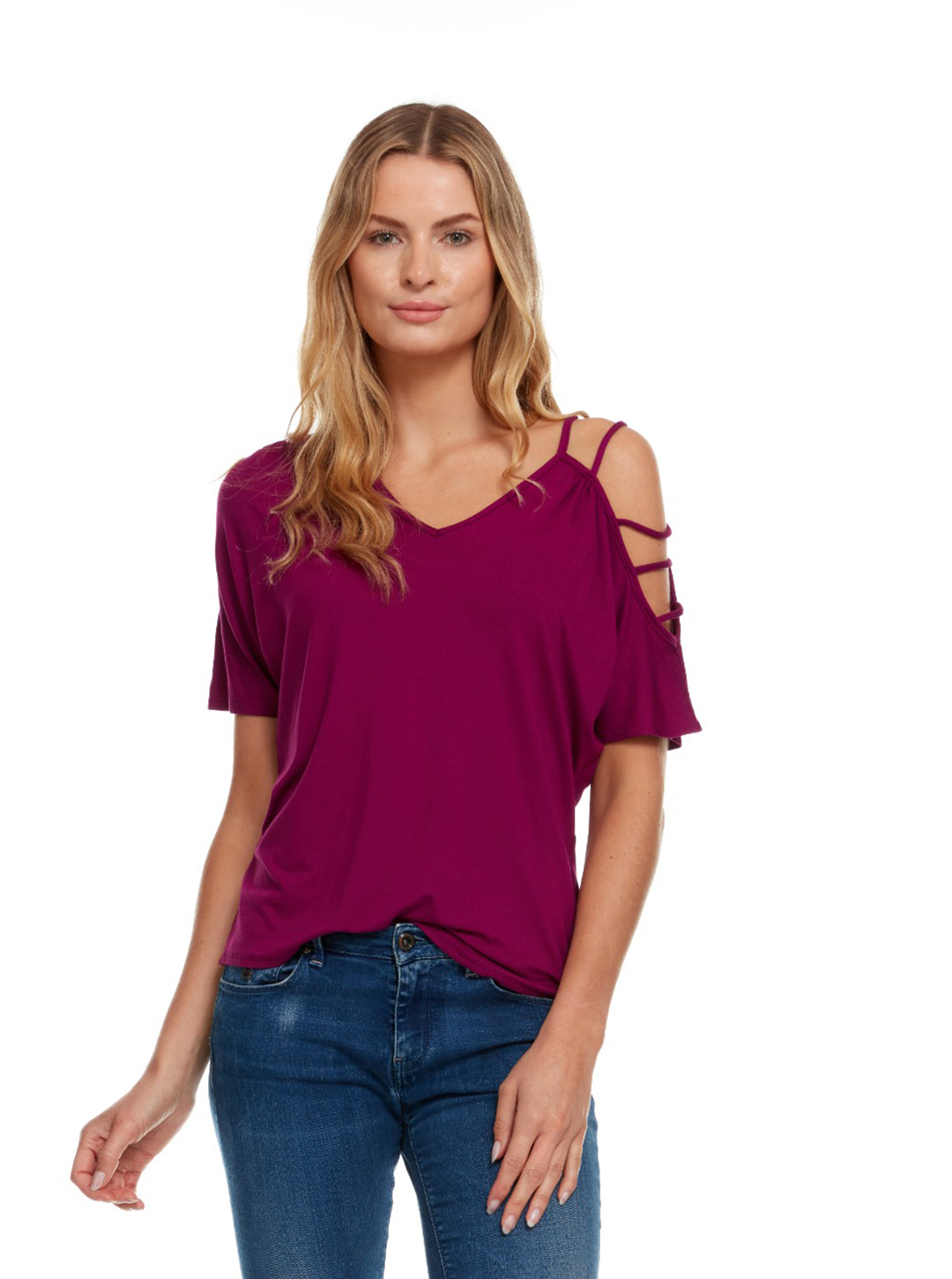 Strappy Single Cold Shoulder Top - Magenta - Front