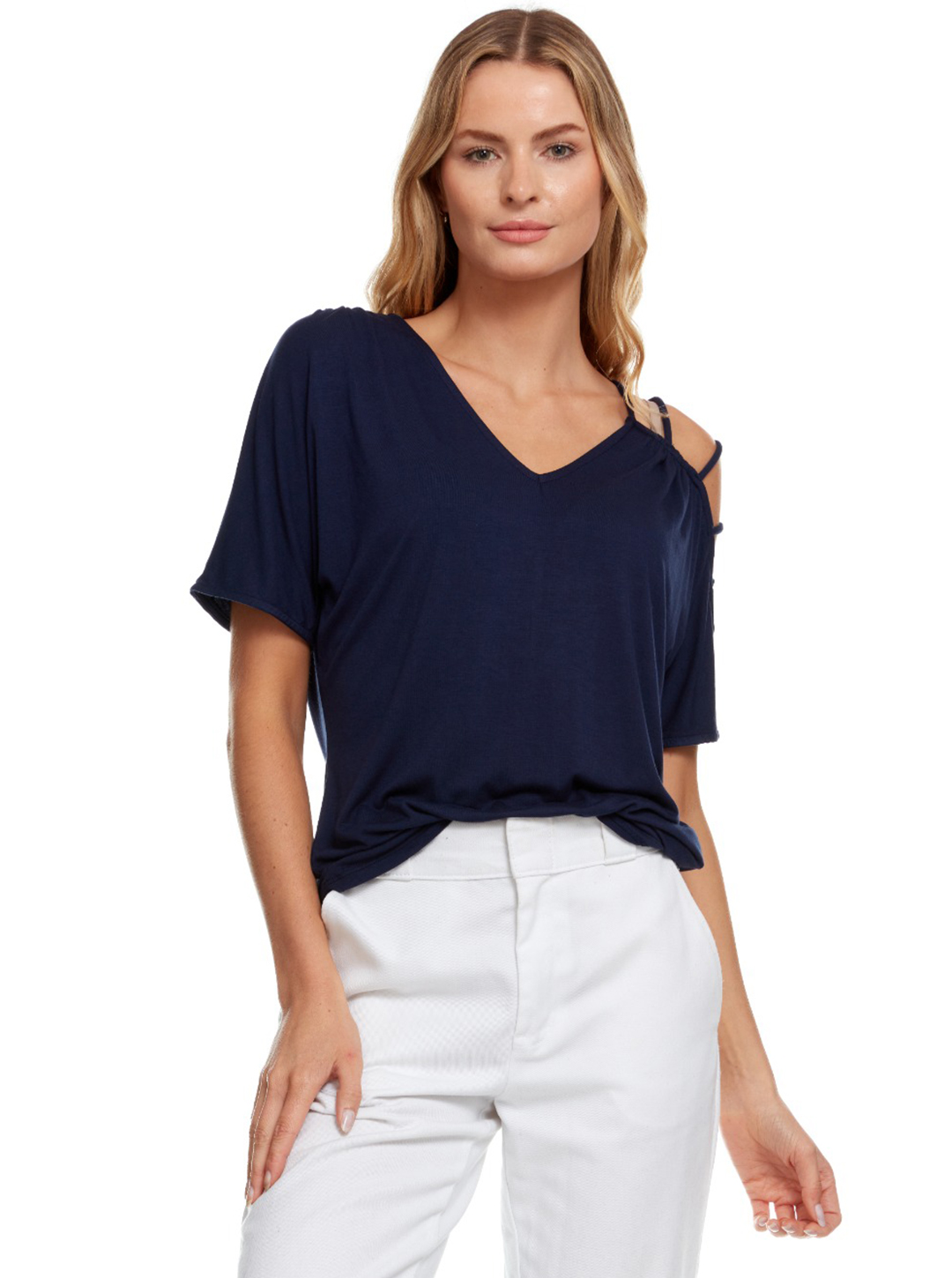 Strappy Single Cold Shoulder Top -Navy - Front