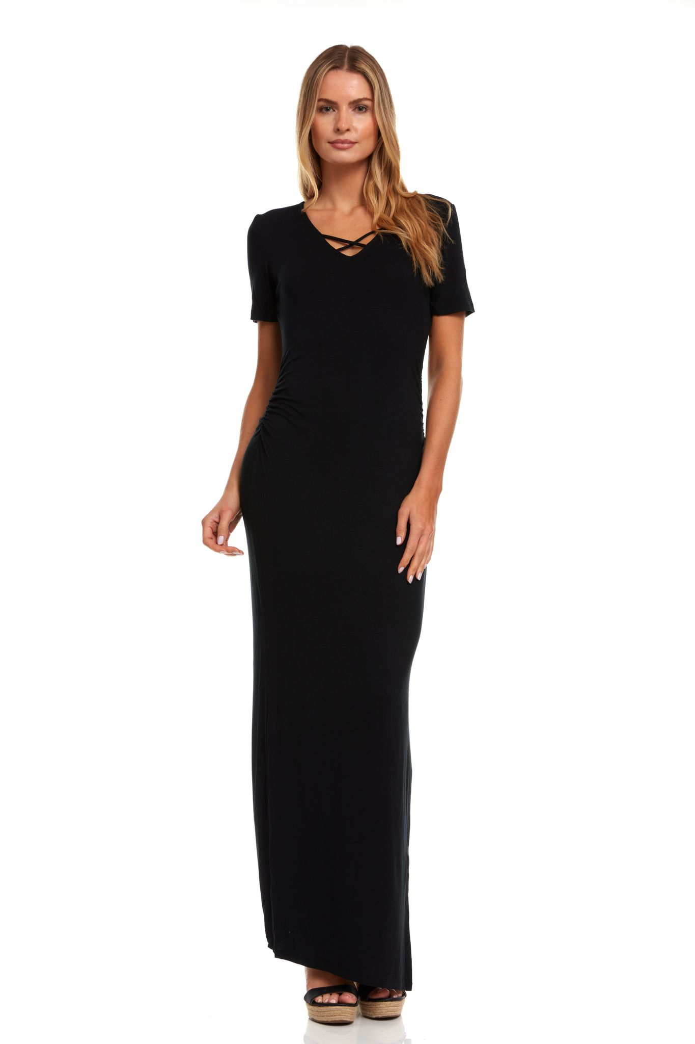 Rouched Side Maxi Dress with Criss-Cross Detail -Black - Front