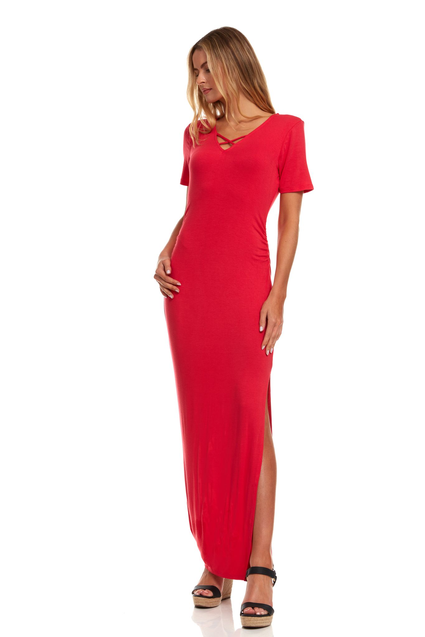 Rouched Side Maxi Dress with Criss-Cross Detail -Red - Front