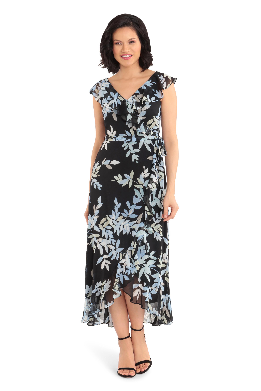 Wrap Ruffle Fern Dress -blue/black - Front