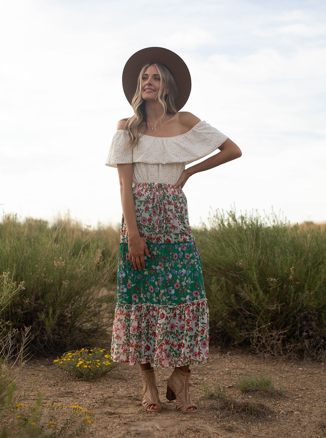 Mix Media Tiered Skirt -Offwhite/green/mauve - Front