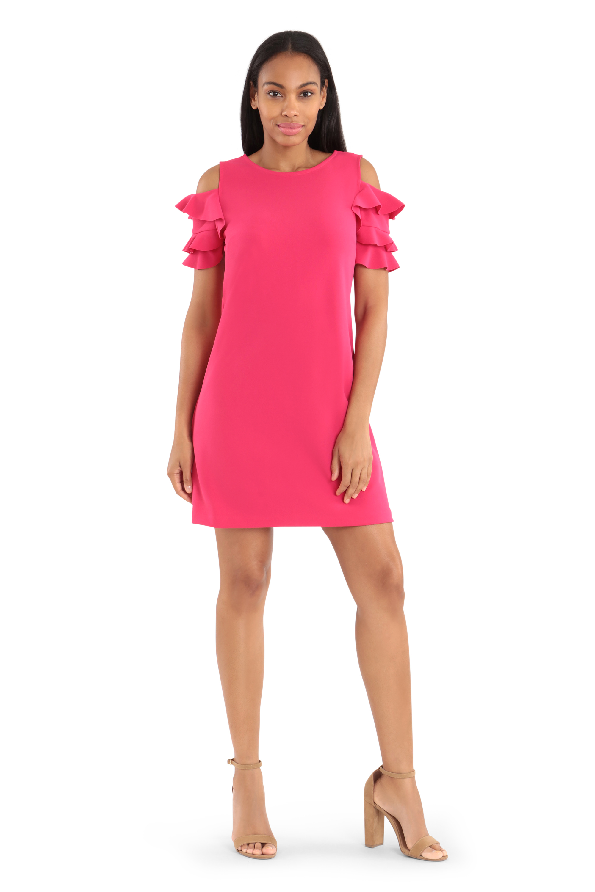 Cold Shoulder Sheath Dress - Dahlia - Front