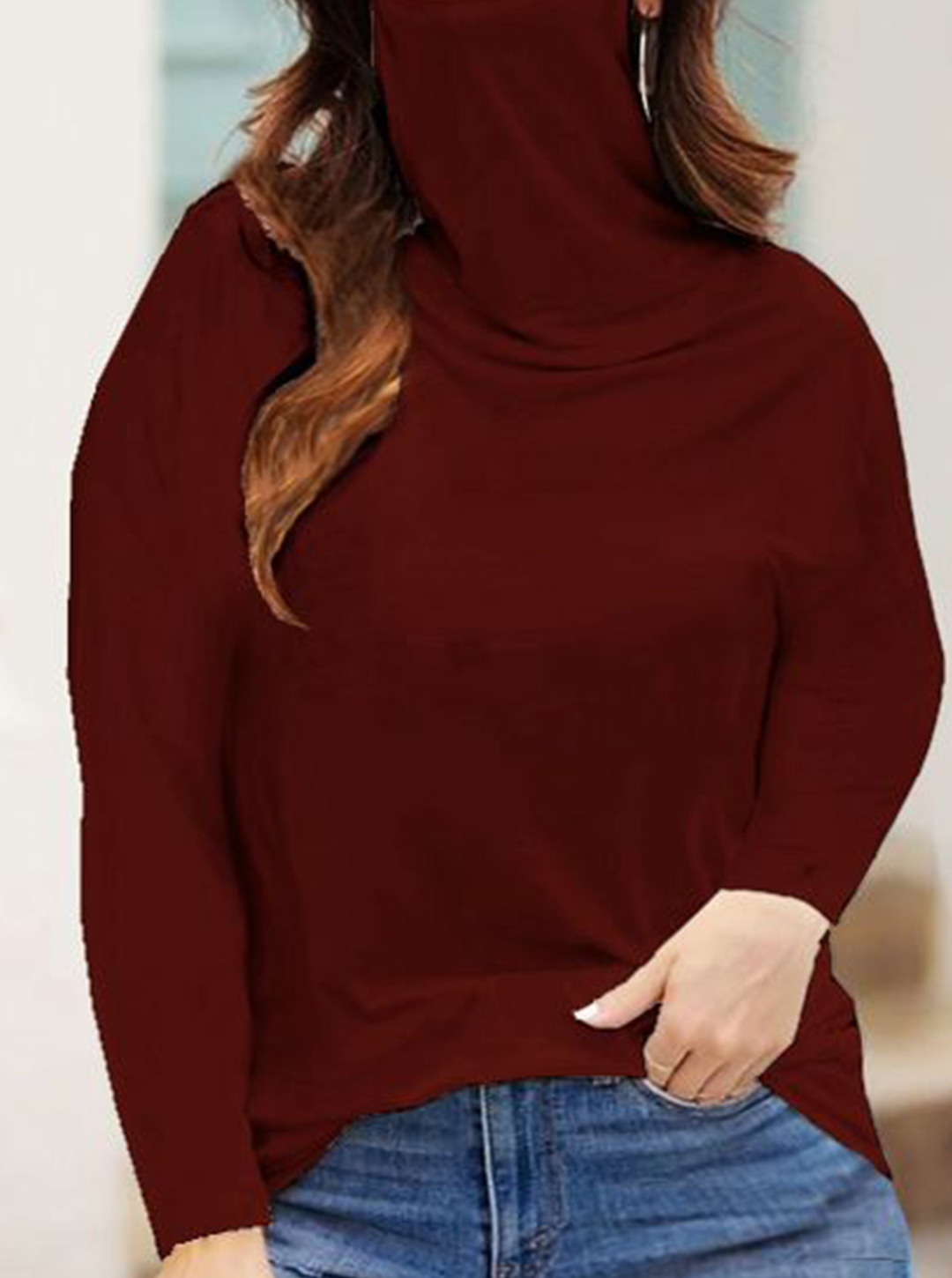 """""""Never Forget Your Mask"""" Curve Fashion Top - Plus - Red Wine - Front"""