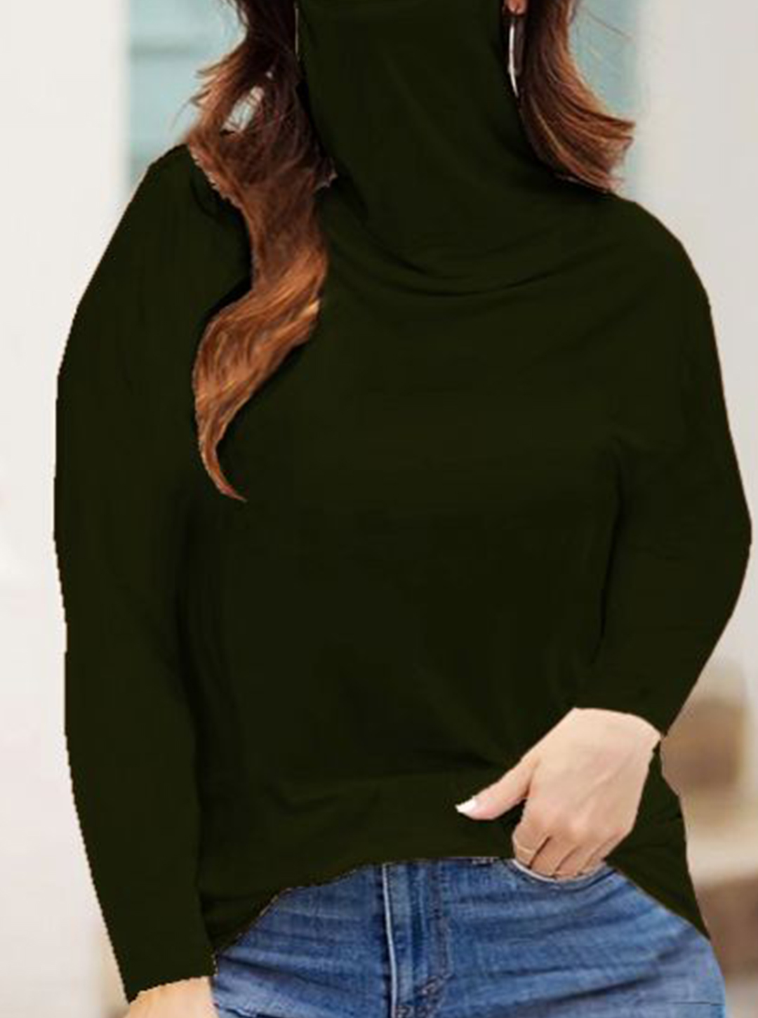 """Never Forget Your Mask"" Curve Fashion Top - Plus - Forest Green - Front"