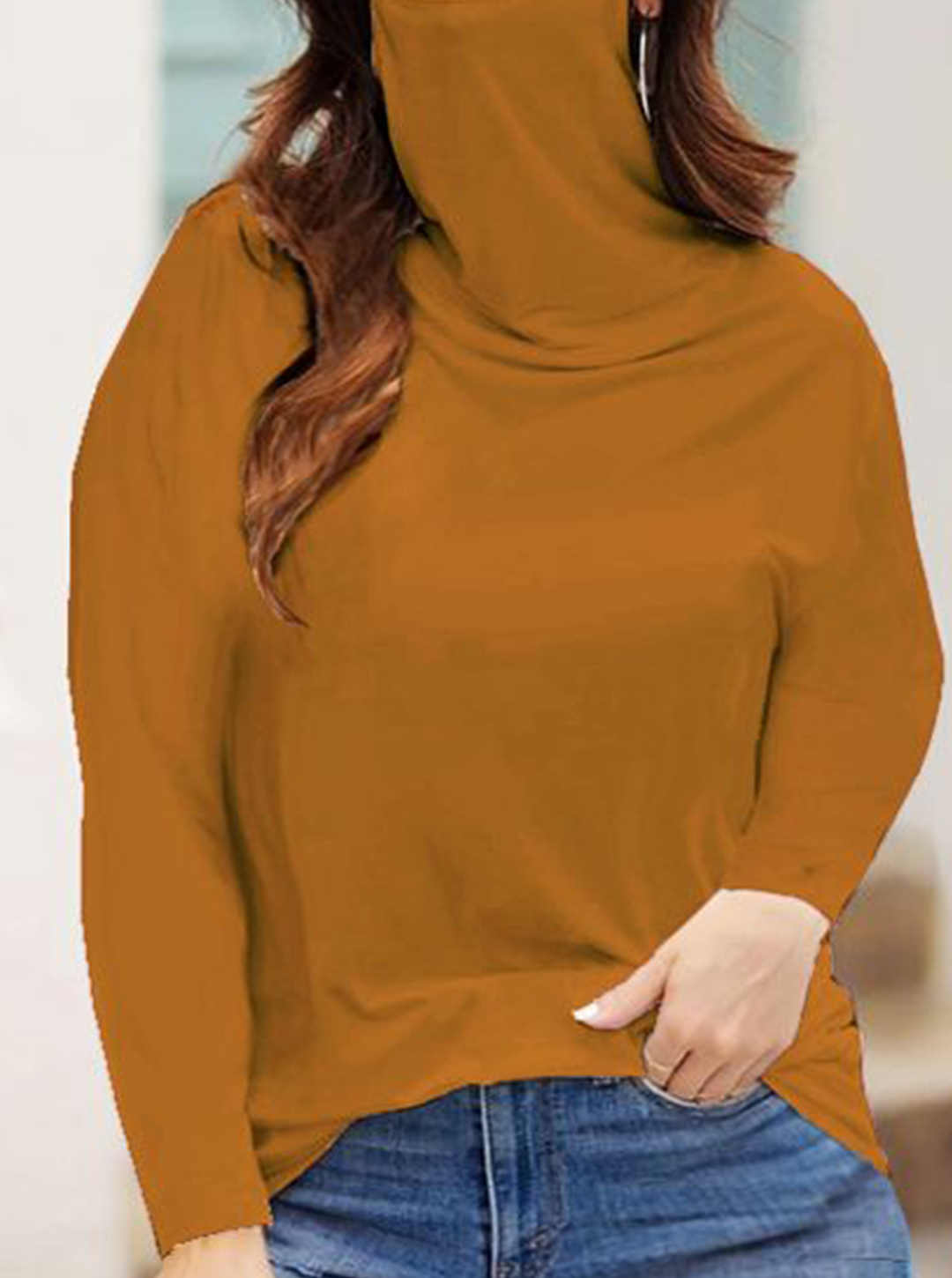 """Never Forget Your Mask"" Curve Fashion Top - Plus -Mustard - Front"