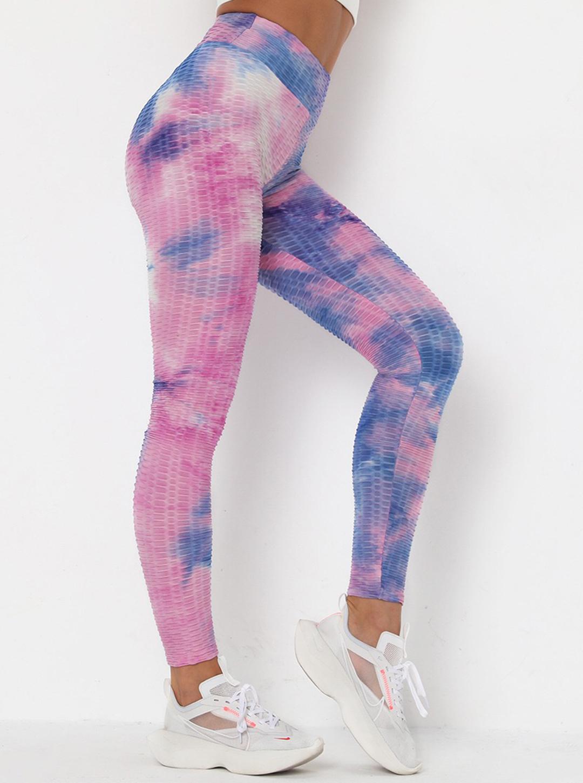 Pink & Blue High Waist Tie Dye Leggings -Blush / Tie Dye - Front