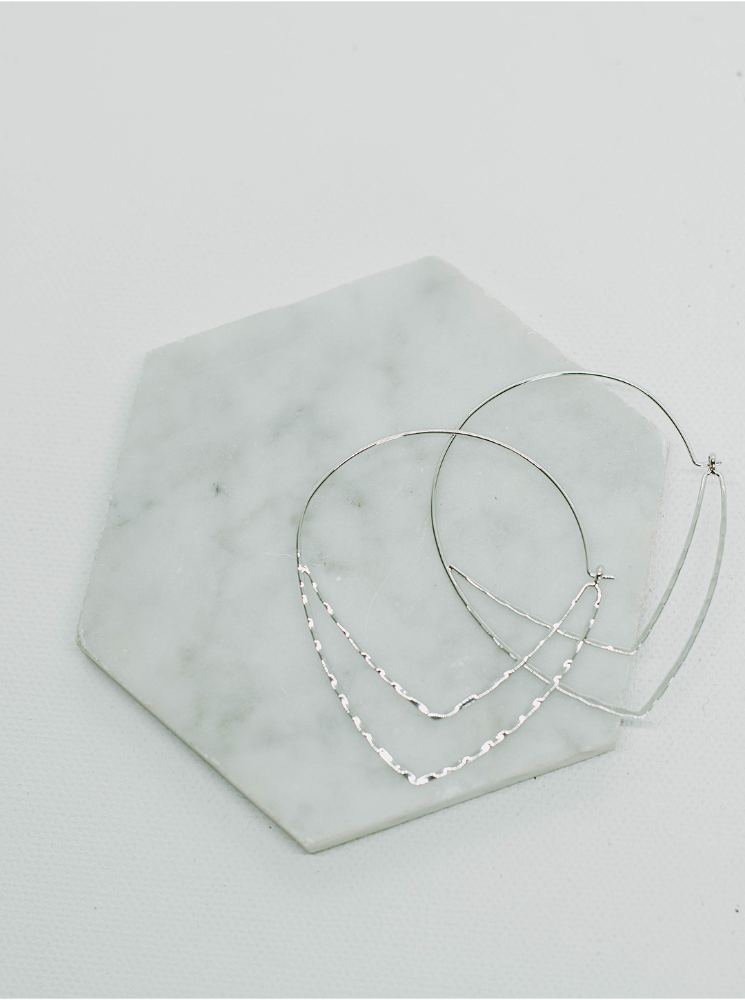 Emma Silver Plated Hammered Hoop - Silver - Front