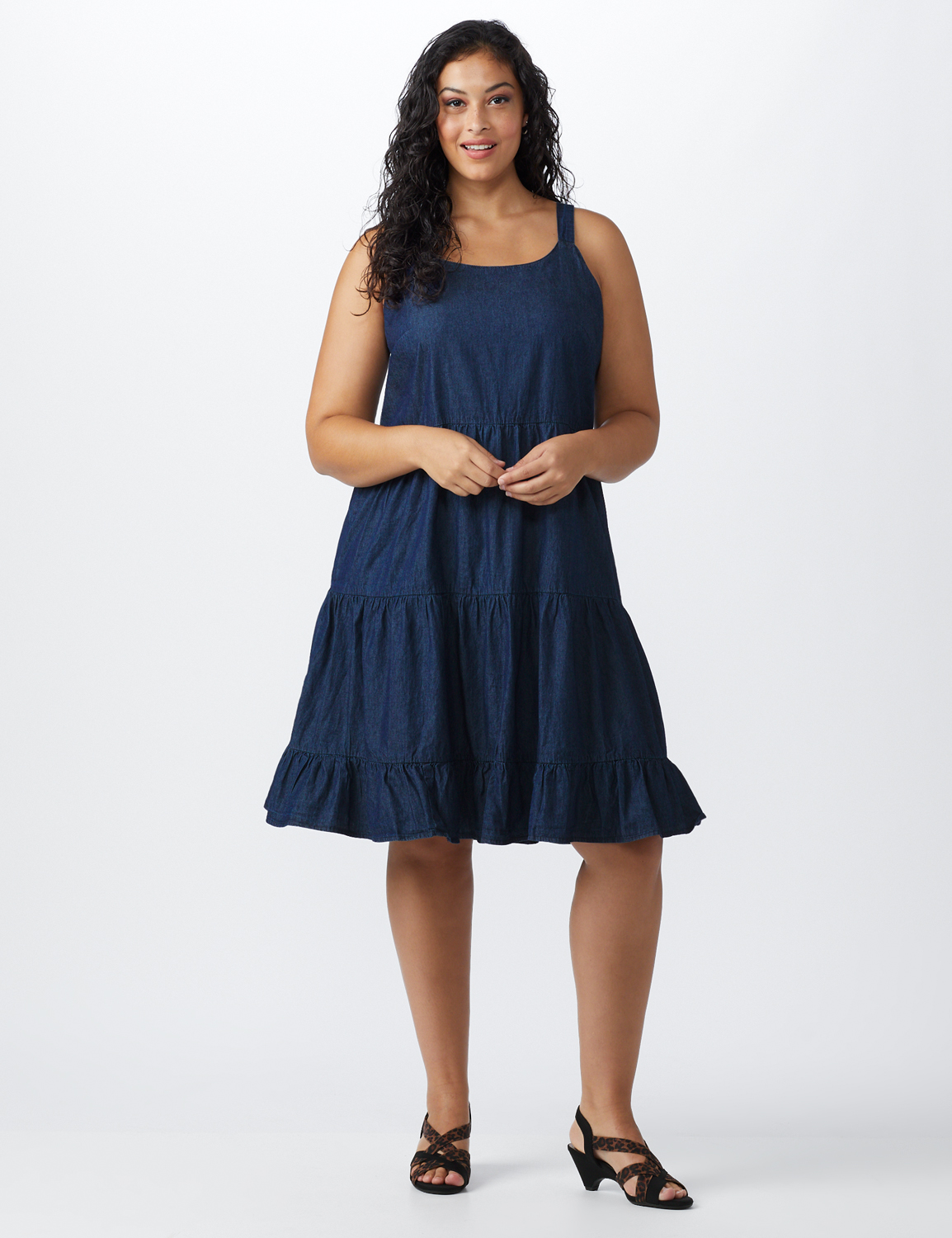 Denim Tiered Tank Dress - Plus -dark wash - Front