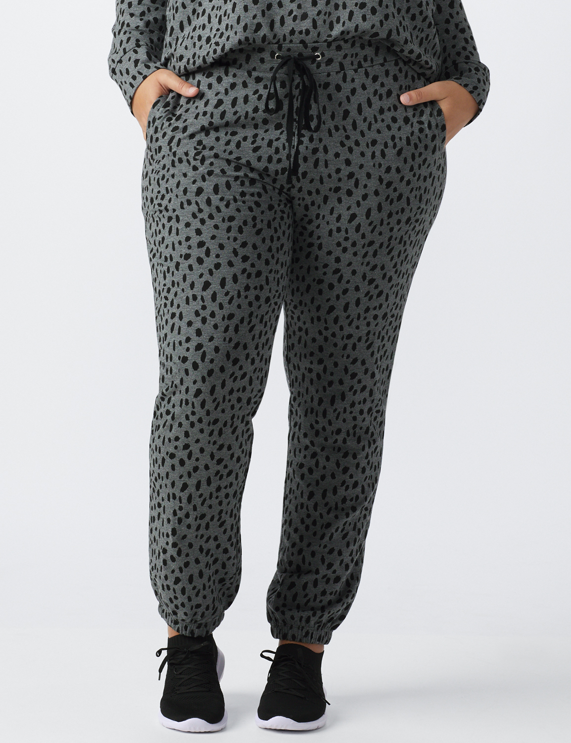 Animal French Terry Knit Jogger - Plus -Gray / Black print - Front