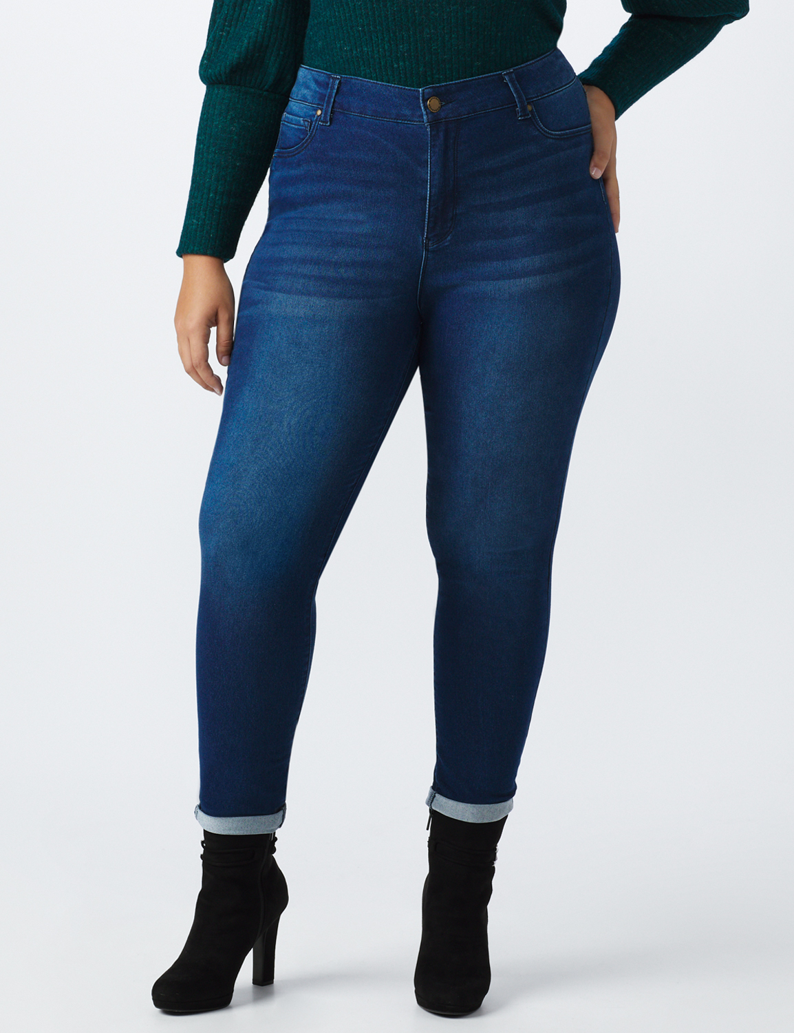 Plus 5 Pocket High Waist Ankle Length Roll Up Jean - Medium Wash - Front