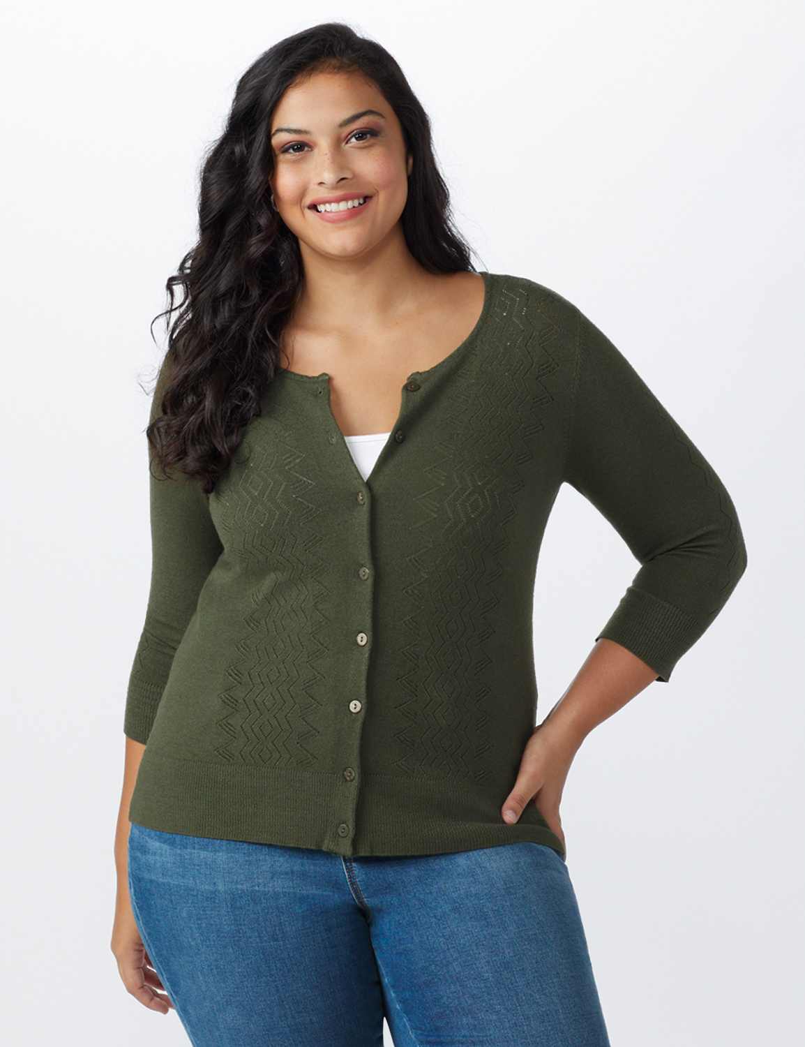 Roz & Ali Pointelle Button-Up Cardigan - Plus -Olive - Front