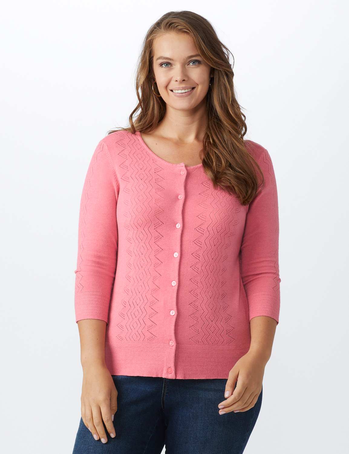 Roz & Ali Pointelle Button-Up Cardigan - Plus - Pink - Front