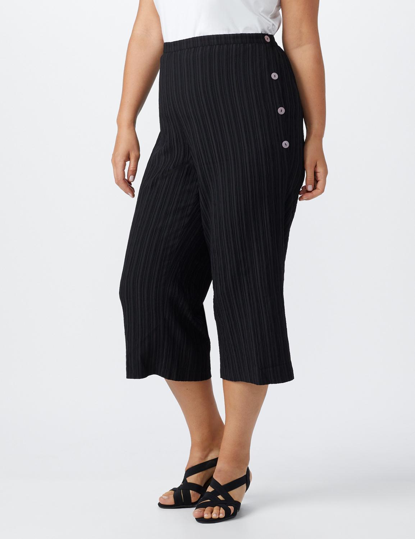 Plus Pleated Crop Pant  with button trim detail -Black - Front