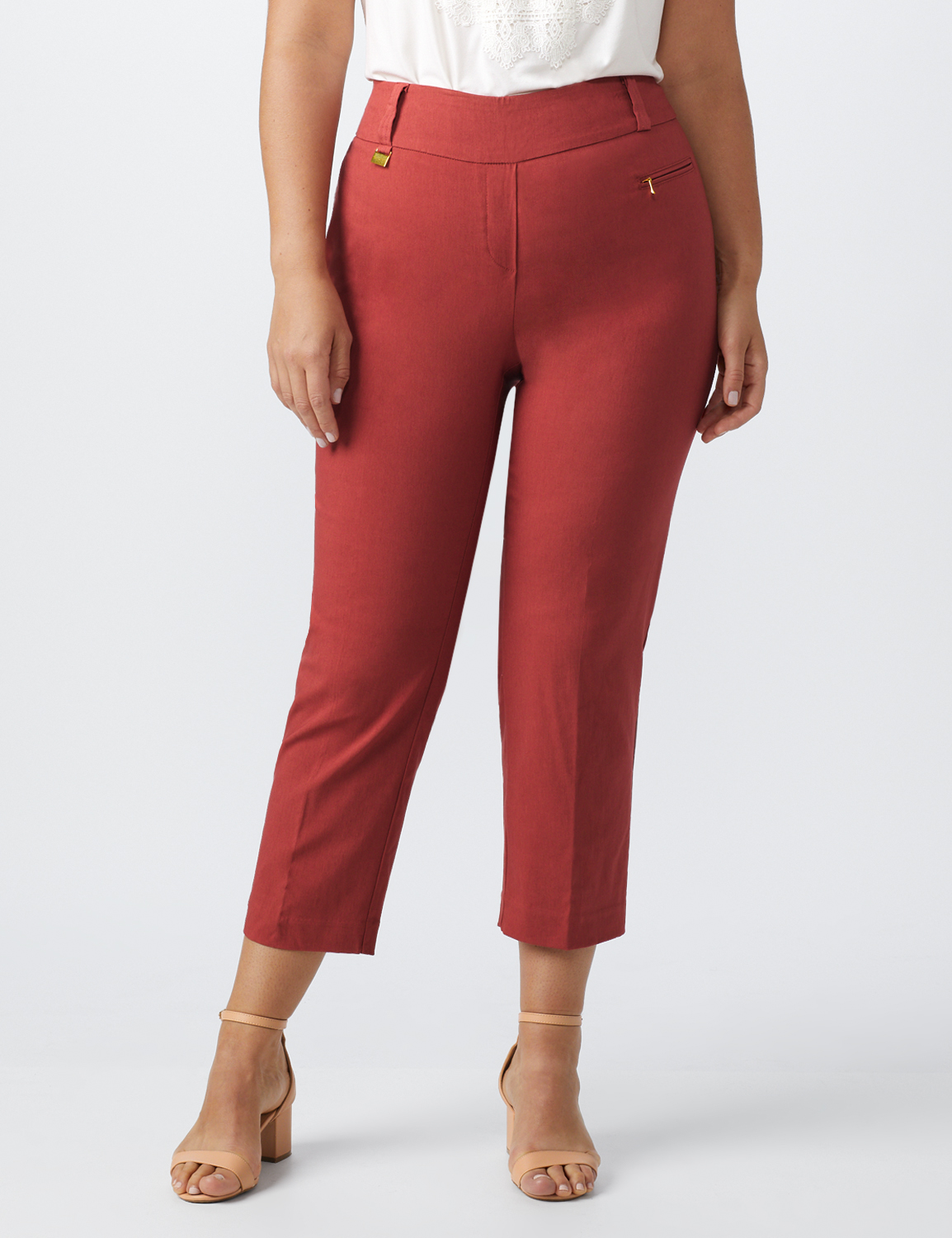 Plus- Pull On Ankle Length Pants With Zipper And Metal Tab -Terra Rose - Front