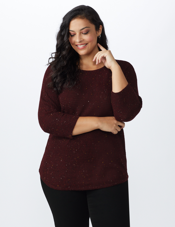 Westport Thermal Stitch Curved Hem Sweater - Plus -Florentine - Front