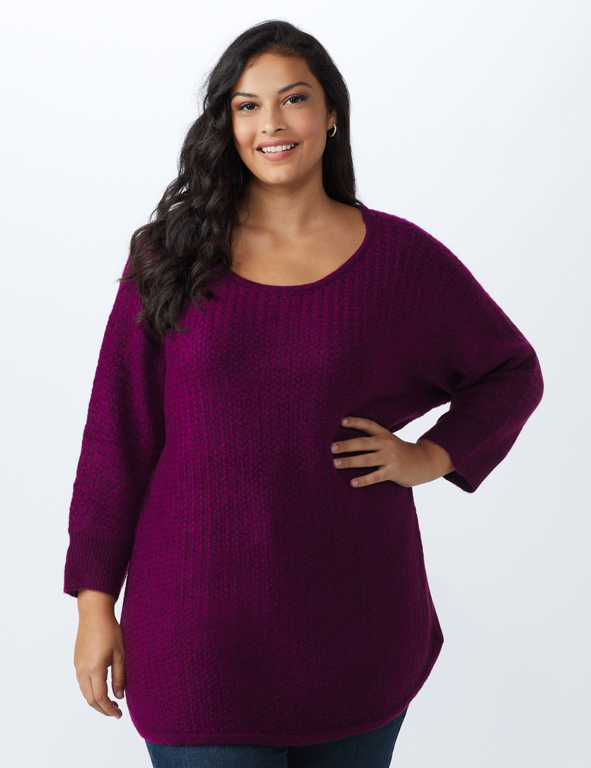 Westport Basketweave Stitch Curved Hem Sweater - Plus - Berry Wine - Front