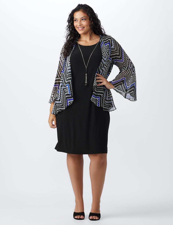Chevron Chiffon Jacket Dress -Black/blue - Front