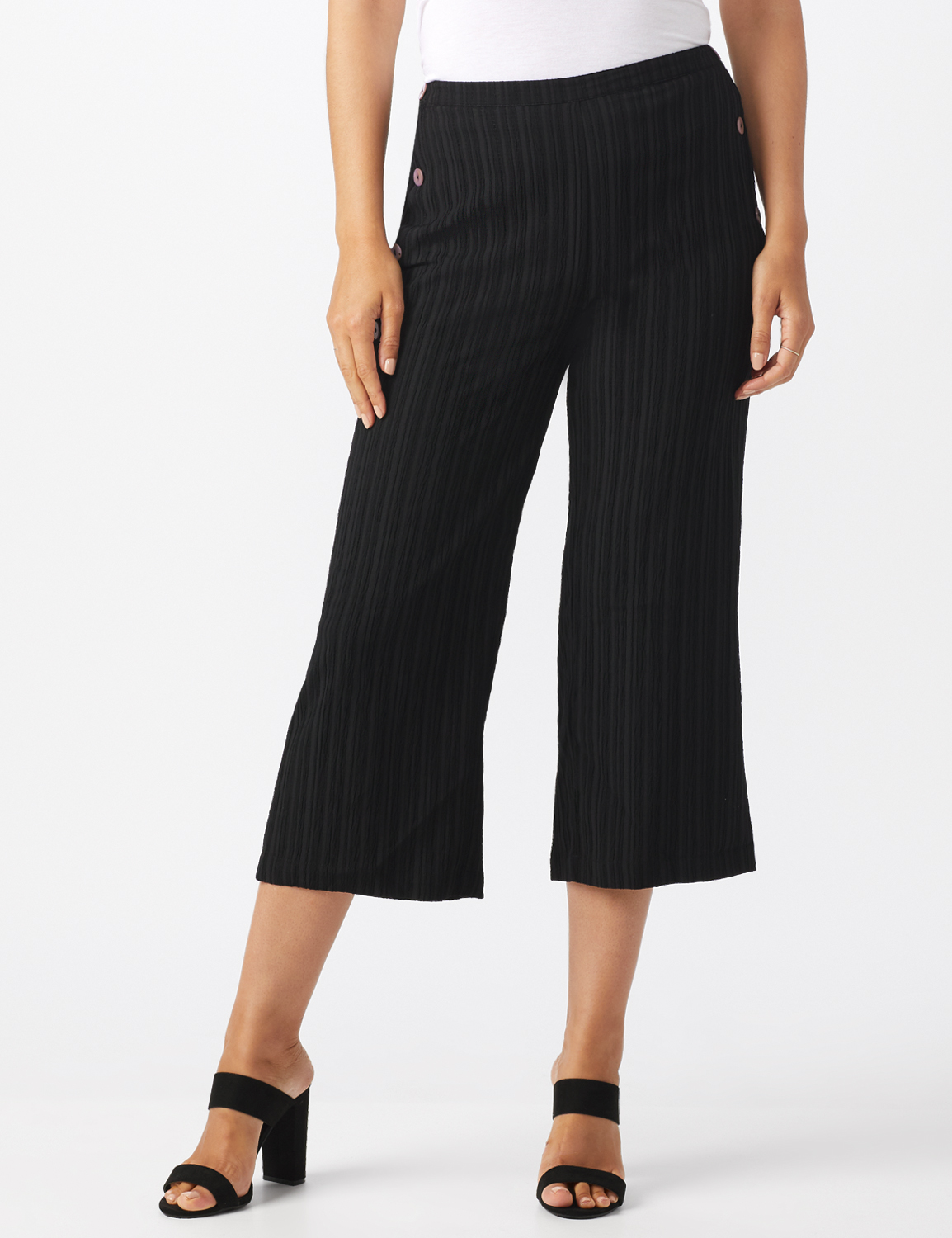 Pleated Crop Pant With Side Buttons -Black - Front