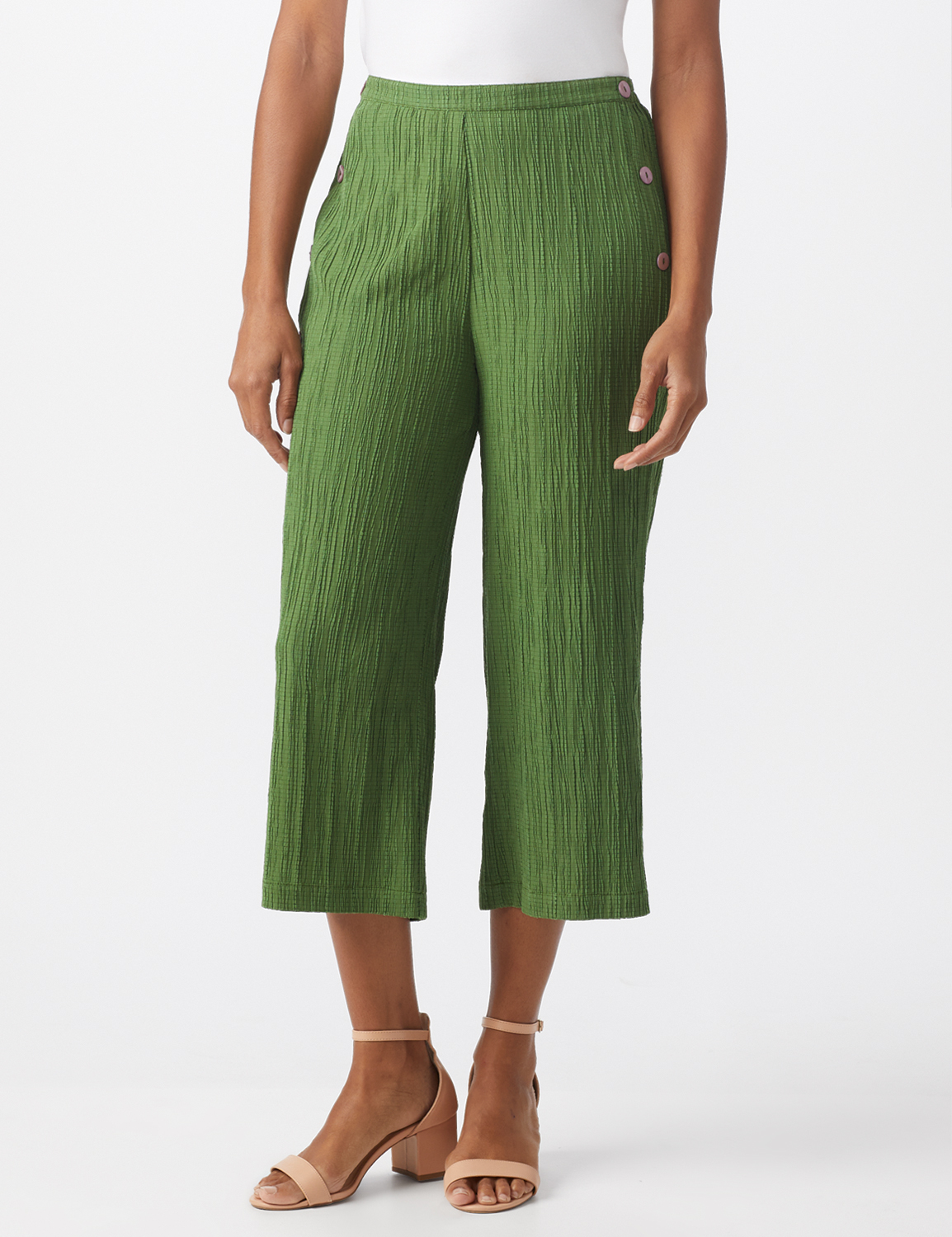 Pleated Crop Pant With Side Buttons -Olive - Front