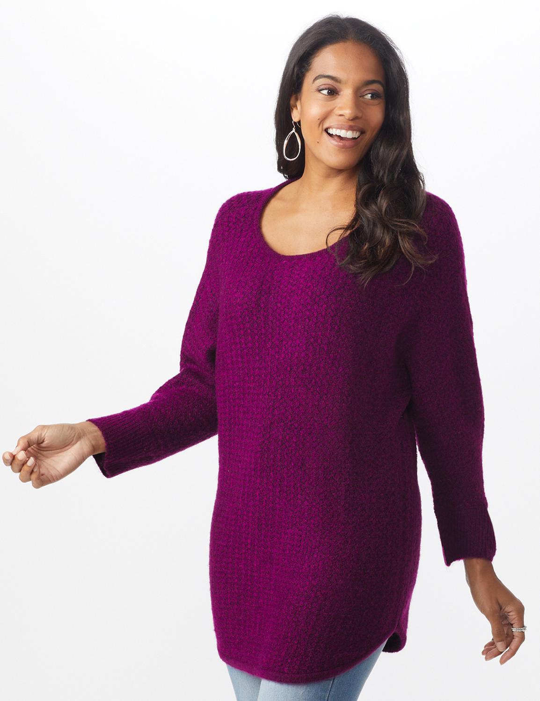 Westport Basketweave Stitch Curved Hem Sweater - Misses -Berry Wine - Front