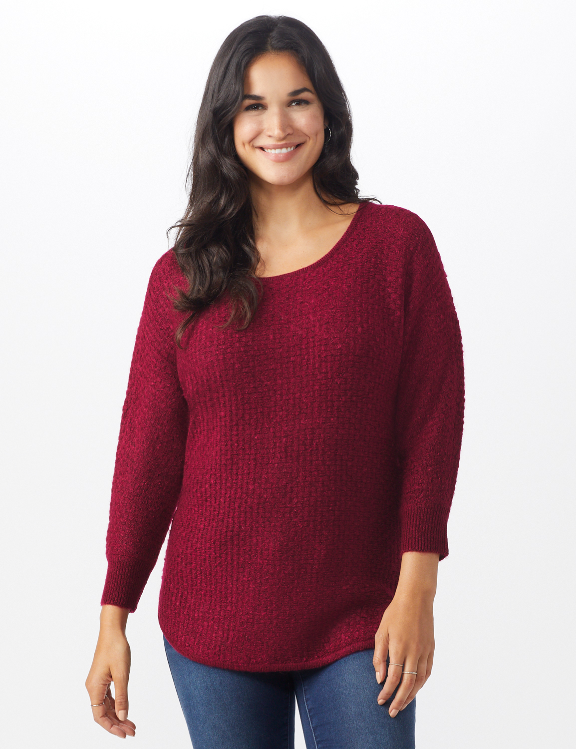 Westport Basketweave Stitch Curved Hem Sweater - Misses -Red - Front