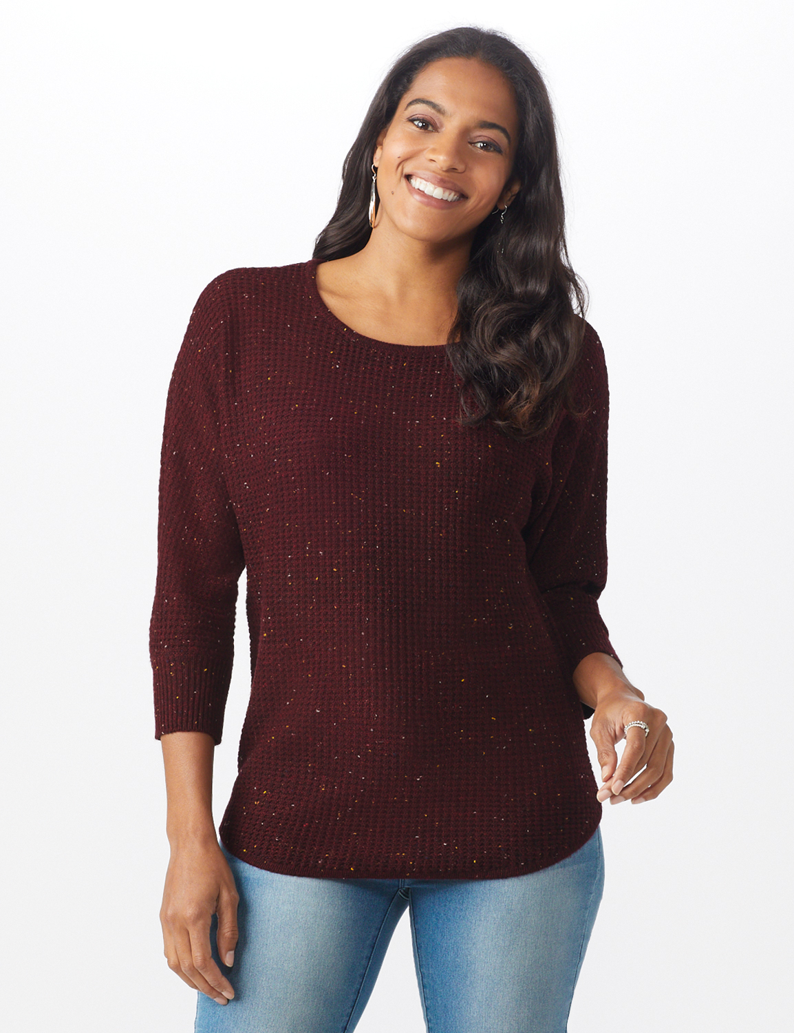 Westport Thermal Stitch Curved Hem Sweater - Misses -Florentine - Front