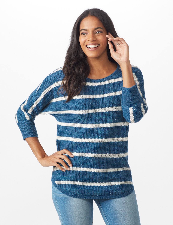 Westport Stripe Curved Hem Sweater - Misses -Vintage Denim/Silver - Front