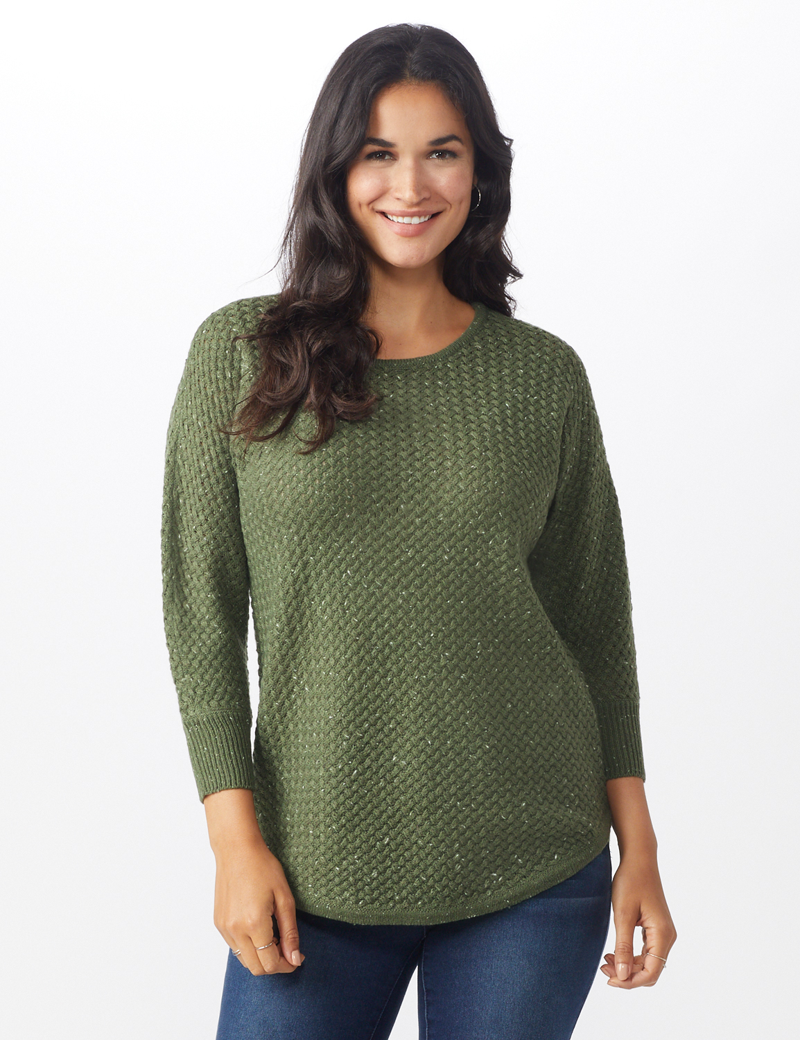 Westport Zig Zag Stitch Curved Hem Sweater - Misses -Dried Sage - Front