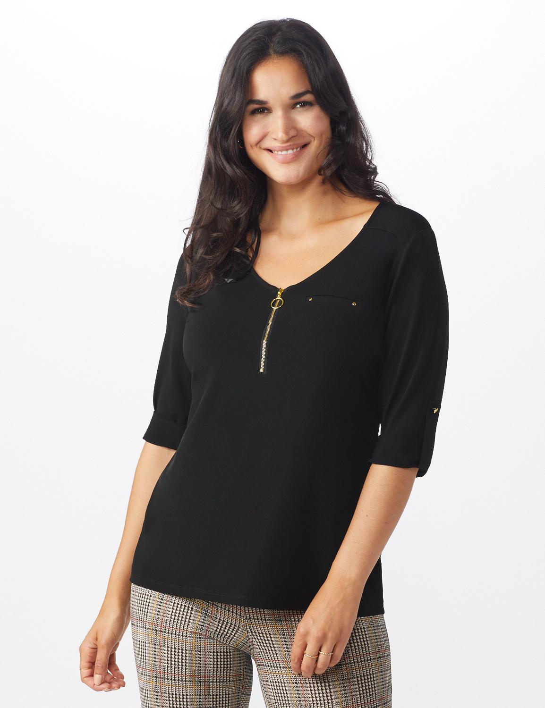 Roz & Ali Zip Front Knit Top - Misses - Black - Front