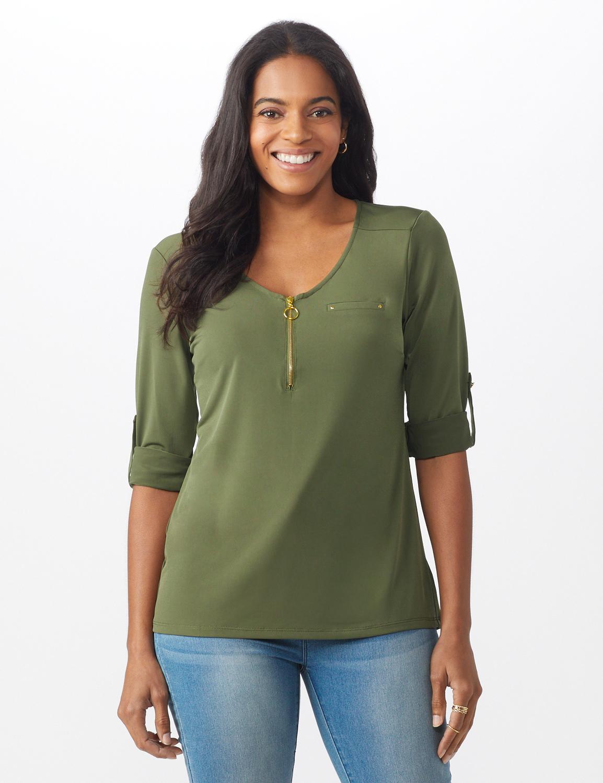 Roz & Ali Zip Front Knit Top - Misses - Olive - Front