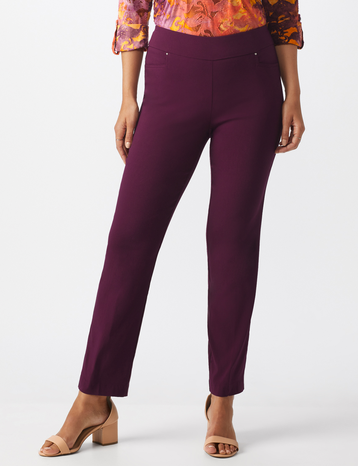 Superstretch Pull On Pants with Rivet Trim L Pockets - Plum - Front