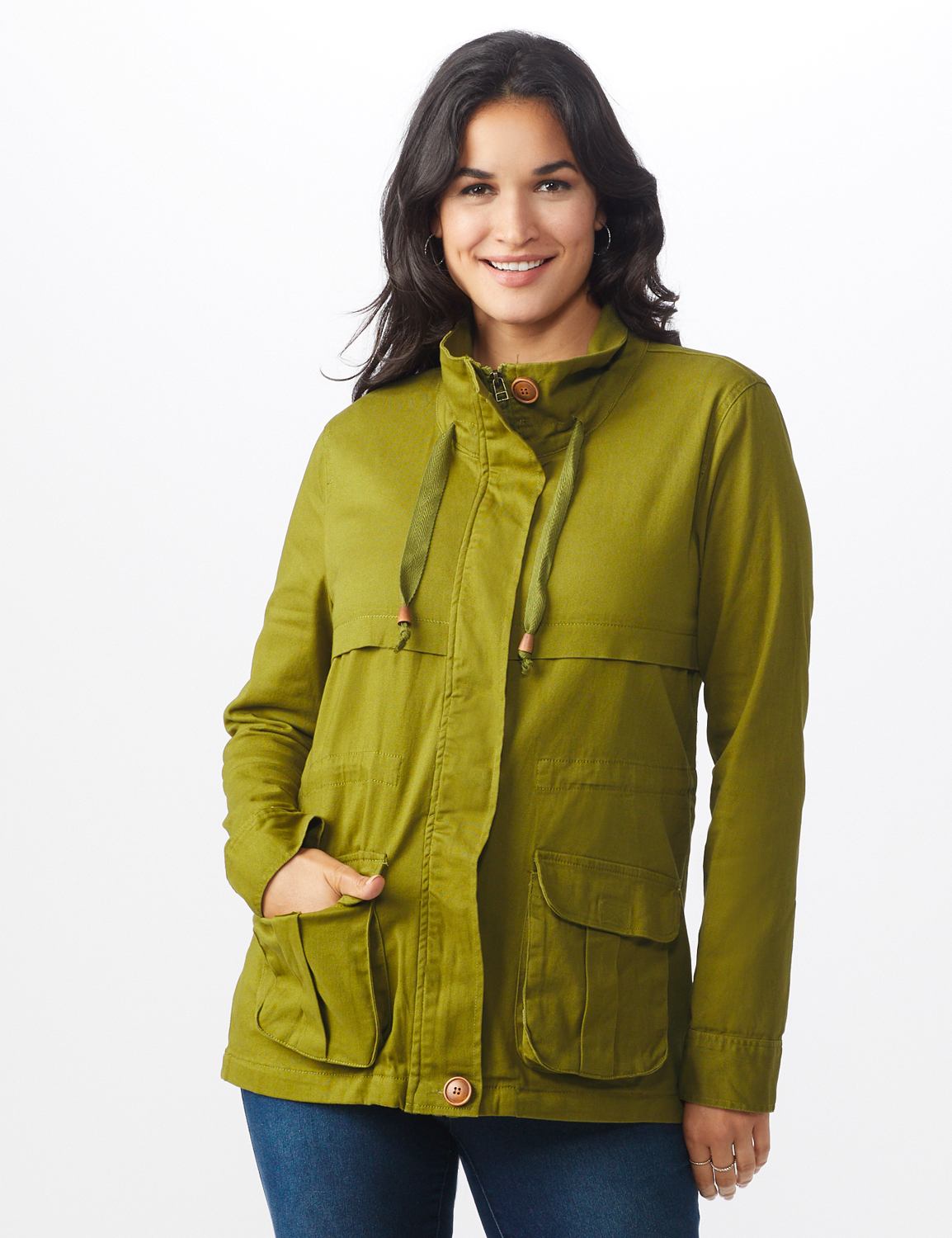 Zip Up Anorak with Cargo Pockets - Avocado - Front