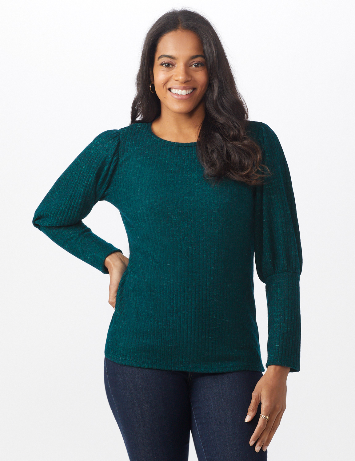 Puff Sleeve Hacci Rib Knit Top -Hunter - Front