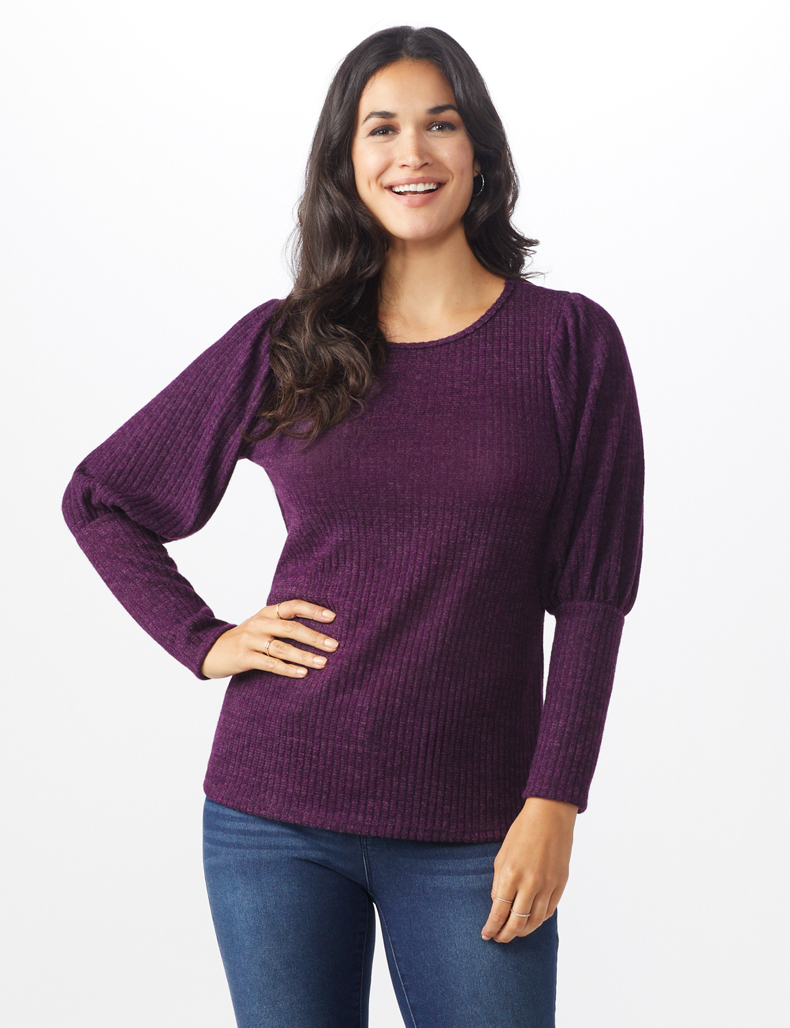 Puff Sleeve Hacci Rib Knit Top - Plum - Front