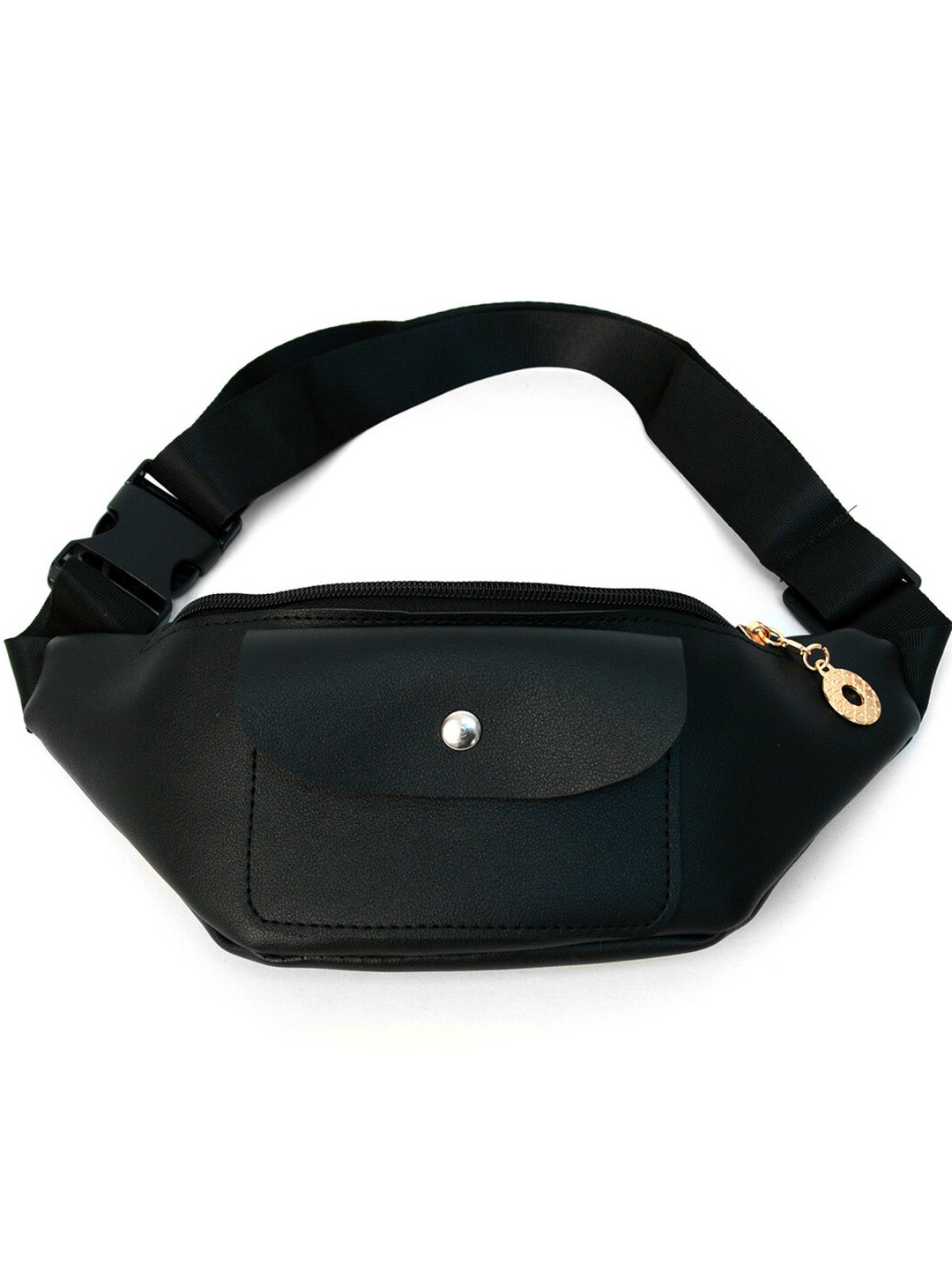 PU Leather Fanny Pack - Black - Front