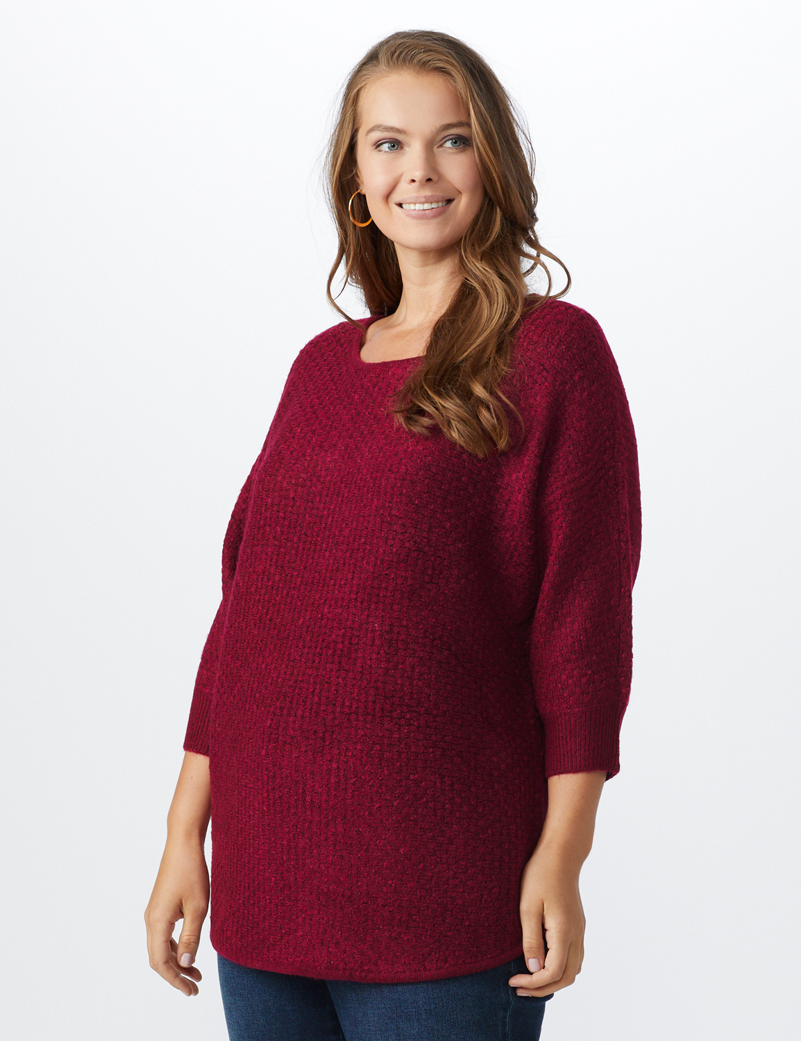 Westport Basketweave Stitch Curved Hem Sweater - Plus - Red - Front