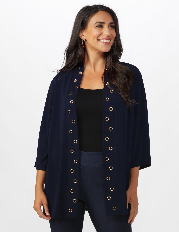 Roz & Ali Kimono Sleeve Grommet Cardigan - Navy - Front