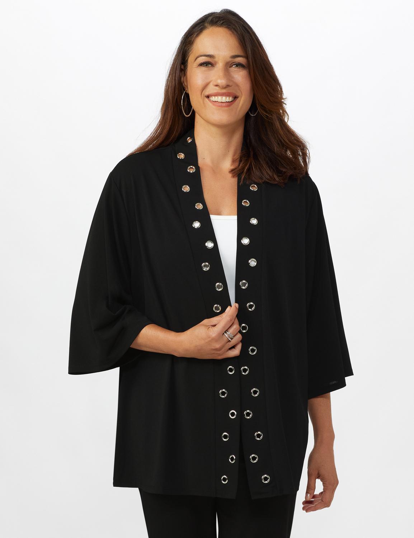 Roz & Ali Kimono Sleeve Grommet Cardigan - Black - Front