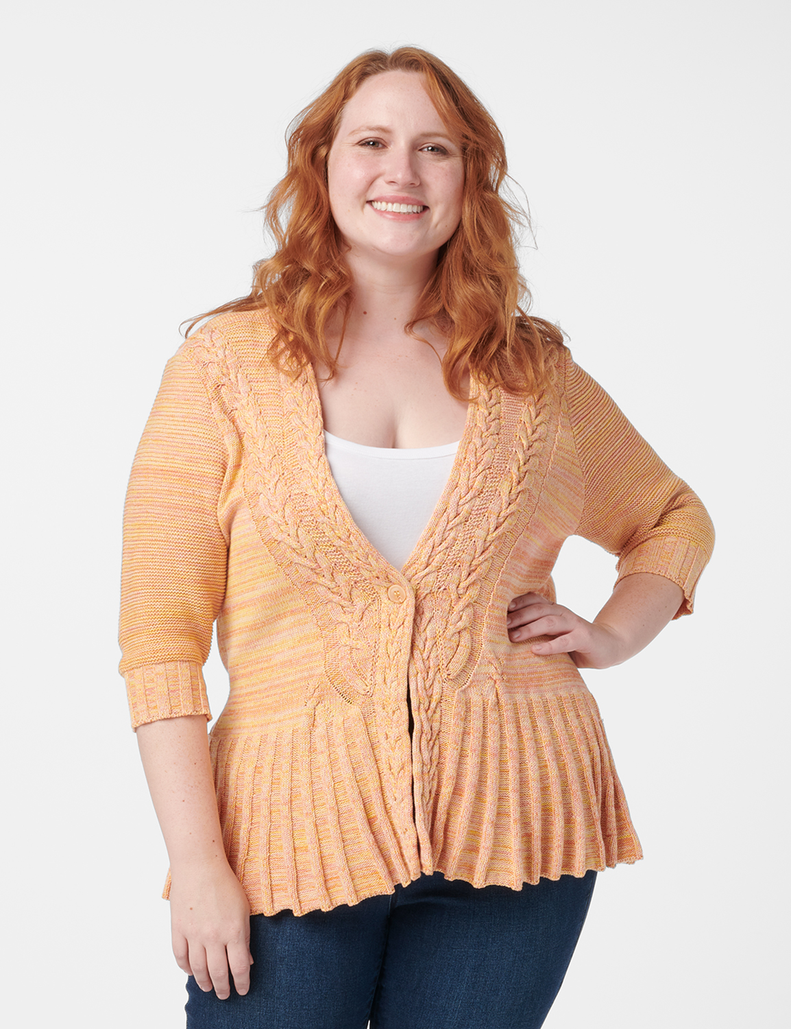 Roz & Ali Marled Button Cardigan -Oatmeal Combo - Front