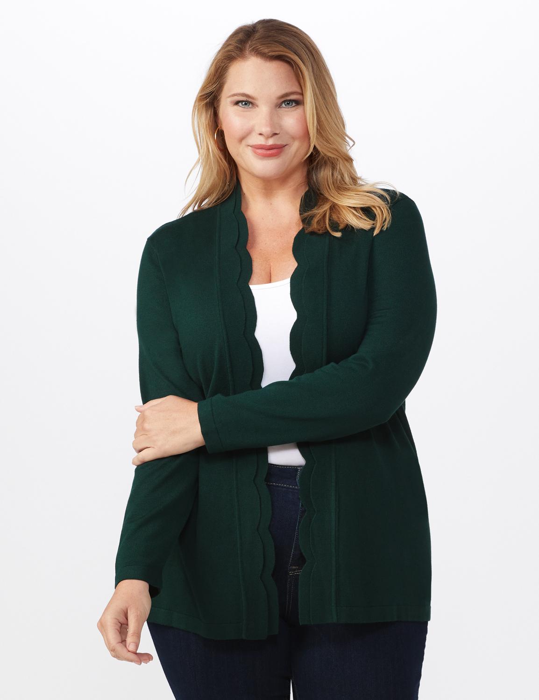 Roz & Ali Scallop Trim Cardigan - Plus - Pine Green - Front